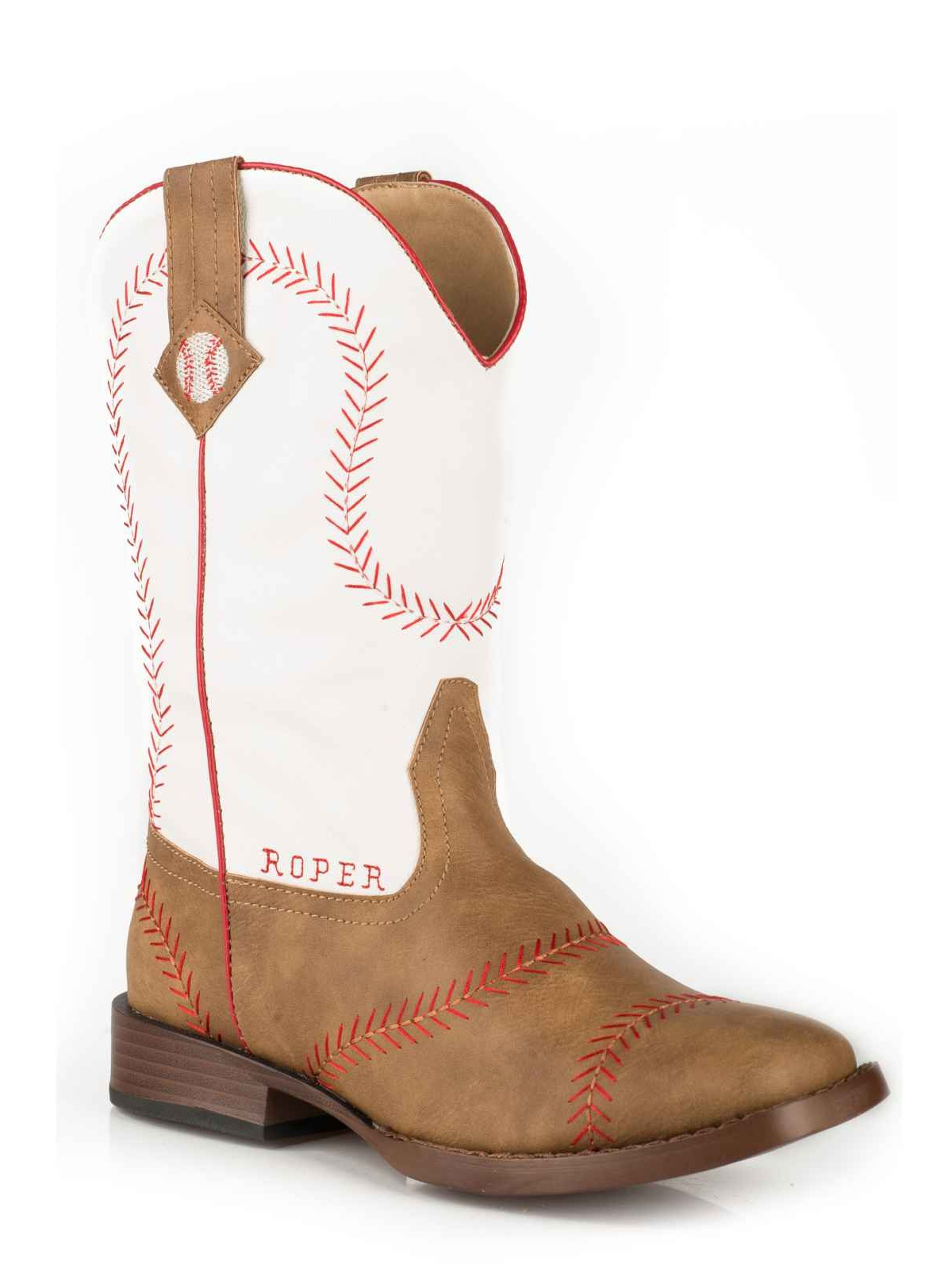 Roper 1902 Tan Vintage Faux Leather Baseball Stitching White