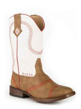 Roper 1902 Tan Vintage Faux Leather Baseball Stitching White