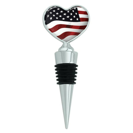 US American Flag Stars and Stripes Waving United States USA Heart Love Wine Bottle Stopper (United States Sparkling Wine)