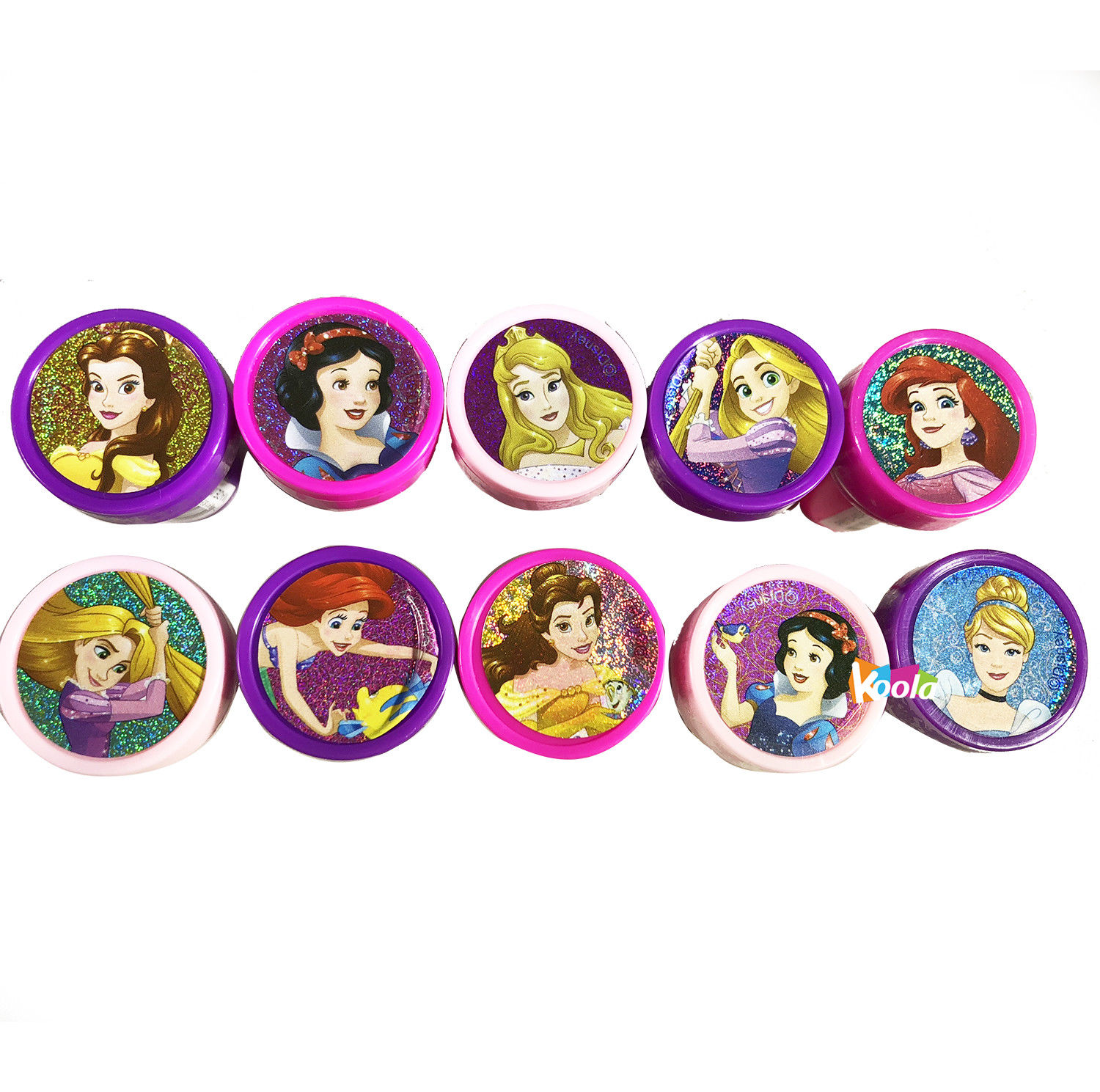 10 pcs Disney Princess Self Inking Stamper Pencil Topper Party Filler Favor