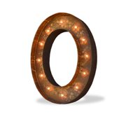 Trekshops Indoor/ Outdoor Rusted Steel Alphabet Letter 'O' Iconic Profession/Commercial MarqueeLight