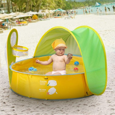 Pop Up Baby Beach Tent and Pool Tent UV Protection Sun Shelters,Portable Kids Ball Pit Play Tent Indoor Outdoor Baby Paddling Pool Beach Canopy Tent Garden With One Free Swimming Float