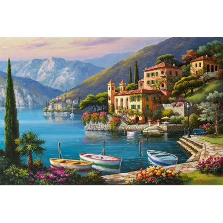Villa Bella Vista Italy Italian Coast Landscape Painting Print Wall Art By Sung Kim