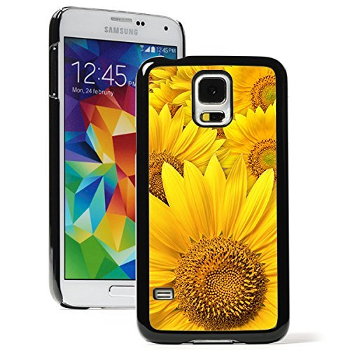 Samsung Galaxy (S5 Active) Hard Back Case Cover Yellow Sunflowers (Black)