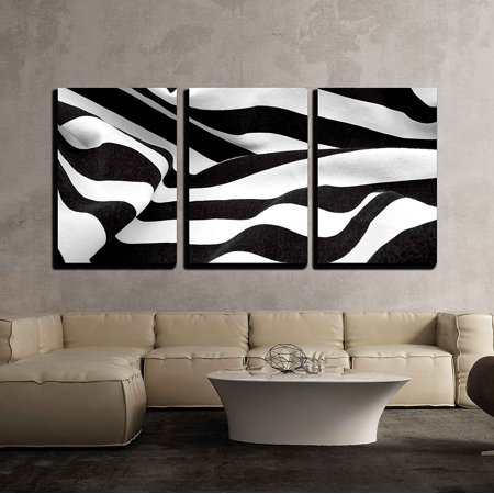 """wall26 - 3 Piece Canvas Wall Art - Black and White Fabric Creates a Swirl or Zebra Effect - Modern Home Decor Stretched and Framed Ready to Hang - 24""""x36""""x3 Panels"""