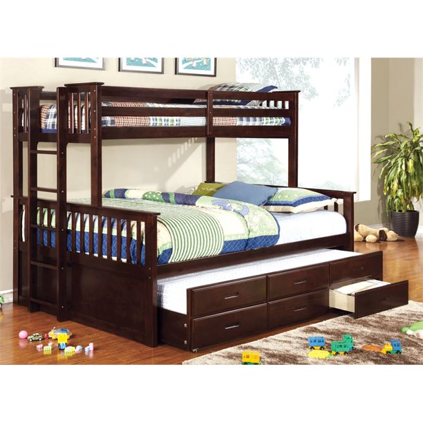 Furniture Of America Frederick Twin Xl Over Queen Bunk Bed With Trundle In Brown Walmart Com Walmart Com