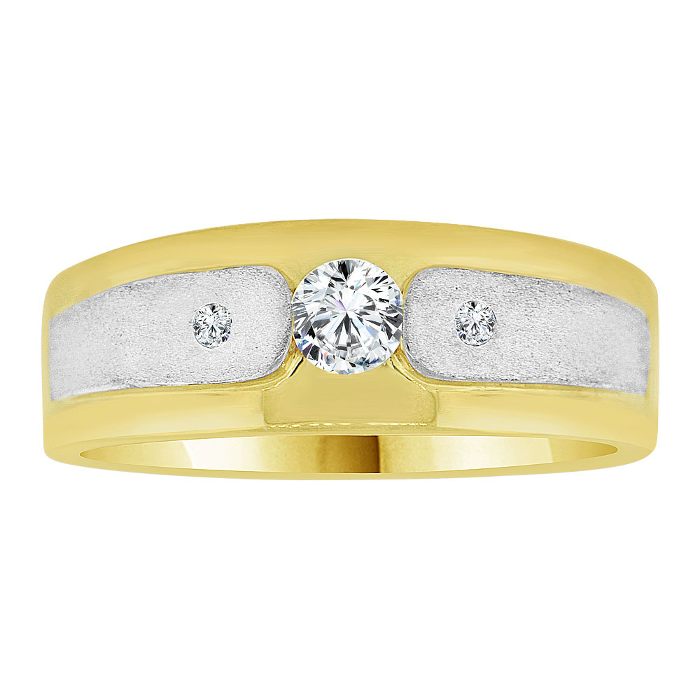 14k Yellow Gold White Rhodium, Fancy Band Ring Men Guy Gent Created CZ Size 11