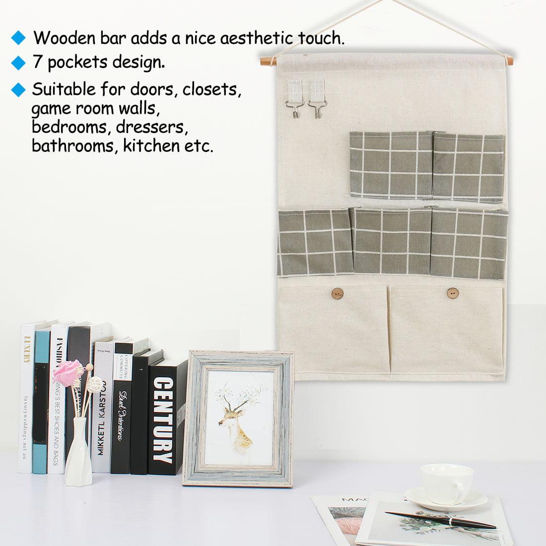 "Closet Foldable Hanging Storage Bag 19.5"" x 13.6"" Organizer Gray Square Pattern - image 2 de 7"