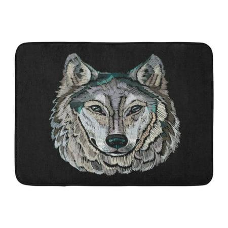 GODPOK Animal Eyes Embroidery Wolf Portrait Gray Design Alpha Canada Rug Doormat Bath Mat 23.6x15.7 inch (2015 Canada Grey Wolf)