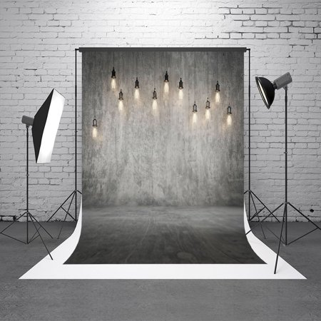 Concrete Fabric - GreenDecor Polyester Fabric 5X7ft Grey Concrete Wall Photography Backdrop Background