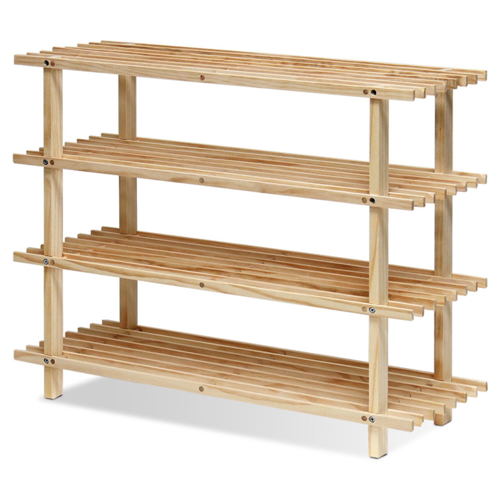 Furinno FNCJ-33005 Pine Solid Wood 4-Tier Shoe Rack