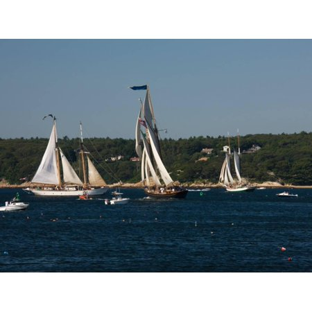 Schooner Leaving Harbor For a Race, Gloucester Schooner Festival, Gloucester, Cape Ann, MA Print Wall -