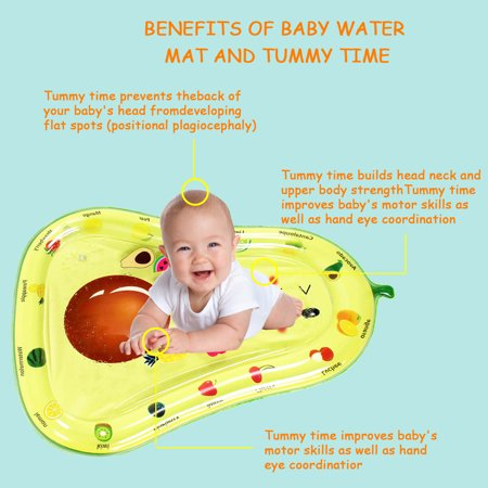 Inflatable Baby Water Mat, PVC Water Mat Fun Activity Play Center for Infants & Kids &Toddlers, Early Education Inflatable Patted Water Play Pad Cushion, Avocado Shape - image 7 of 9