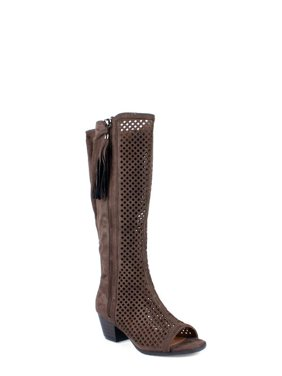 c1e194763f0 Product Image Nature Breeze Peep Toe Women s Perforated Boots in Taupe