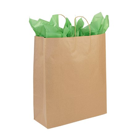 """Jumbo Recycled Natural Kraft Paper Shopping Bags - 16""""L x 6""""D x 19""""H - Case of 200 Make it easy on your customers. Now they can carry their large purchases in the Jumbo Recycled Kraft Paper Shopping bags. Featuring handles and a gusset, these paper shopping bags are made of 100% recycled, post- consumer materials and are tear resistant, making them durable and allowing your customers to carry multiple purchases in one bag. Sold in cases of 200."""