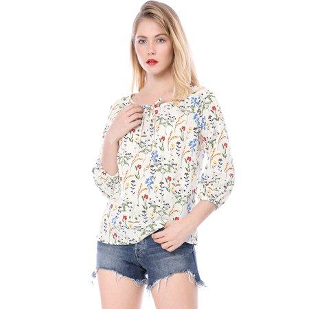 Women Floral 3/4 Raglan Sleeve Round Neck Blouse White S (US 6) - image 2 of 6