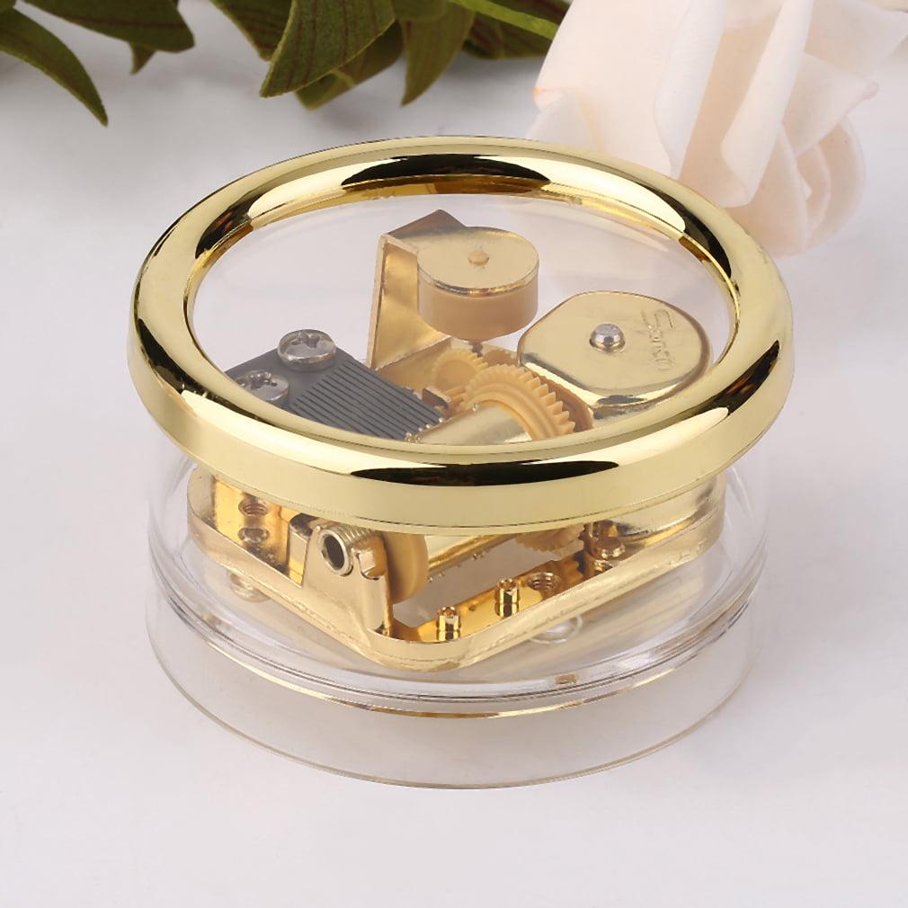 Fashion Acrylic Clear Gurdy Clockwork Movement Round Music Box Play MG-216 by