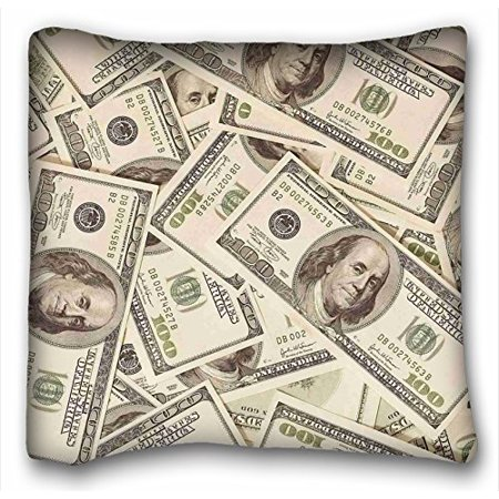 WinHome US Dollar Currency Money Pillowcase, Hundreds Of 100 Dollar Bills Pattern Pillowcase Zippered Pillow Case Printing Satin Fabric Custom Personalized Pillowcase 18x18 Inches Custom Made Boutique Pillowcase