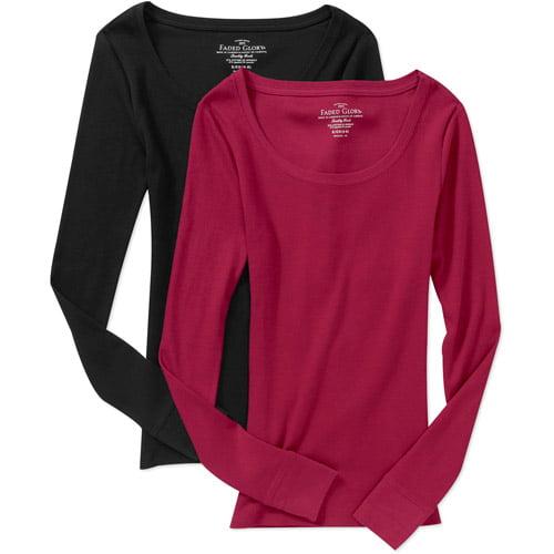 Faded Glory Women's Long Sleeve Scoop Tees, 2-pack