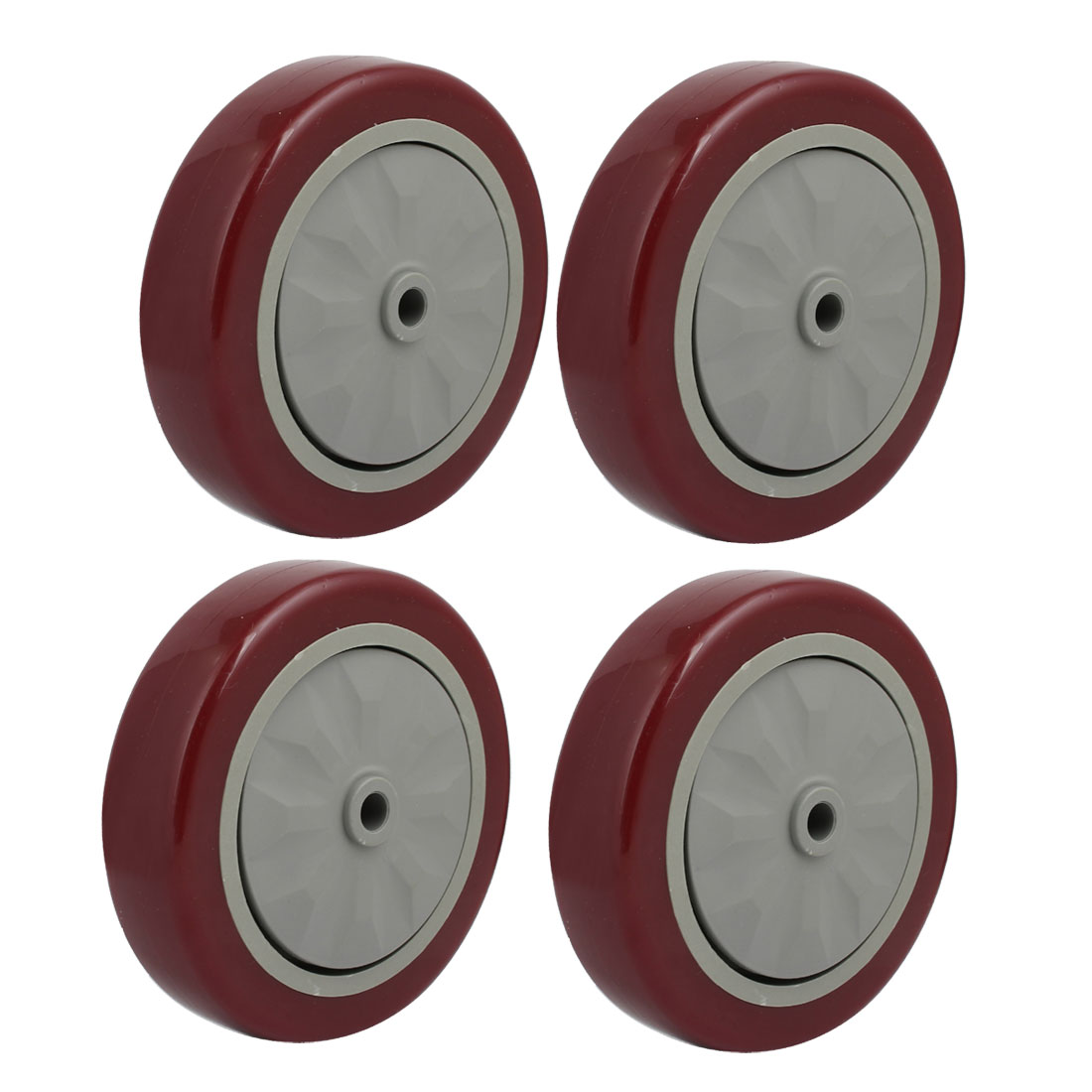 Unique Bargains 5-inch Diameter Wheel Trolley Cart Bearing Caster Pulley Red 4pcs