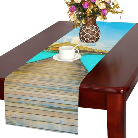 MYPOP Beach And Sea Wood Bridge For Holiday Vacation Cotton Linen Table Runner 16x72 Inches ()