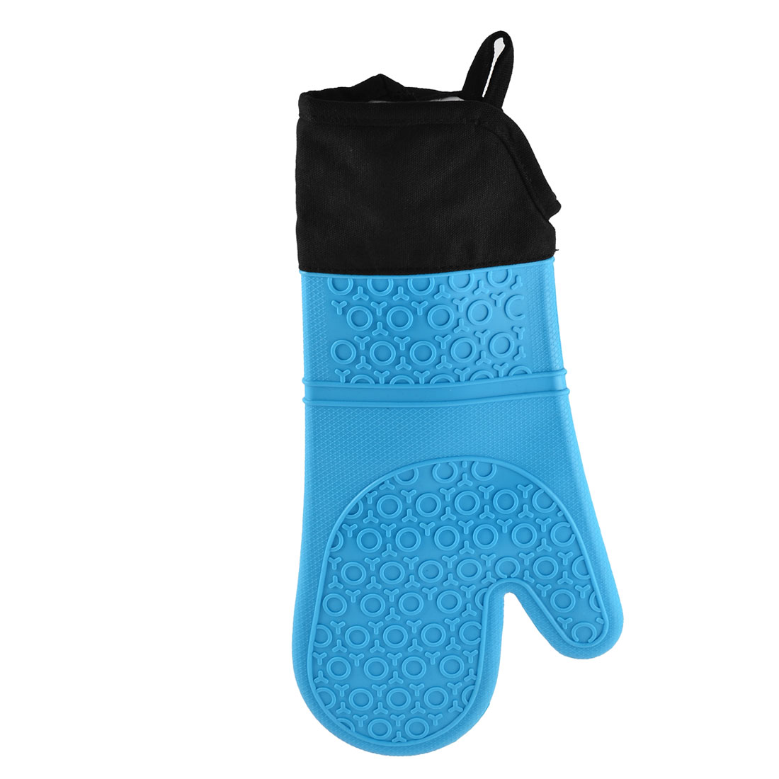 Unique Bargains Kitchen Waterproof Nonslip Quilted Cotton Lining Oven Mitt Glove Blue