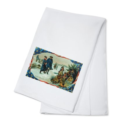 Valley Forge, Pennsylvania - Washington and Troops Braving Winter Scene (100% Cotton Kitchen Towel)