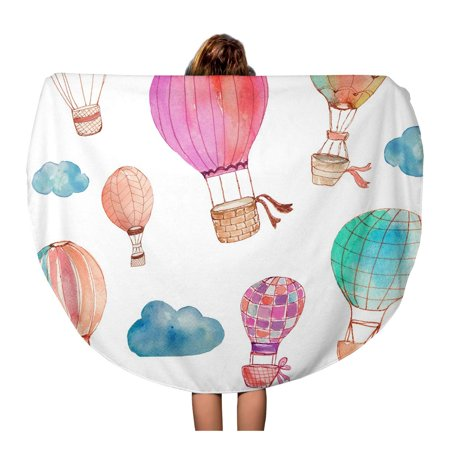 JSDART 60 inch Round Beach Towel Blanket Pink Watercolour Watercolor Hot Air Balloons Clouds Colorful Nursery Travel Circle Circular Towels Mat Tapestry Beach Throw - image 1 de 2