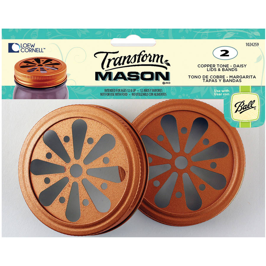 TransformMason Lids and Bands, 2pk, Copper Daisy