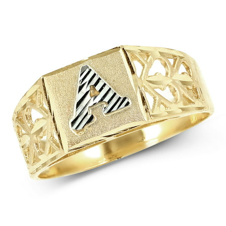 LoveBling 10K Yellow Gold Diamond Cut Ladies Alphabet Initial Ring, Block Lettering (A, 7.5) Block Initial Ring