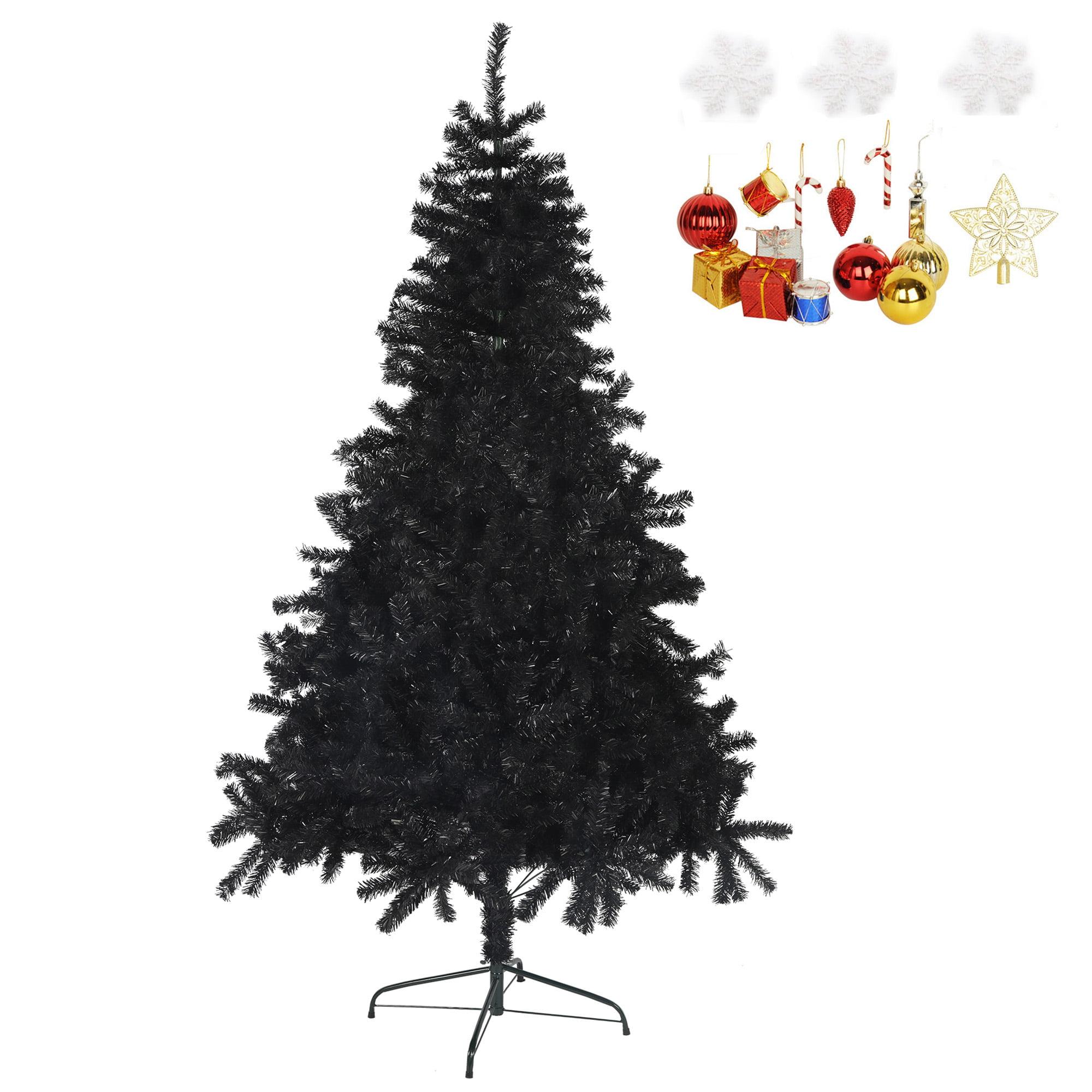 Karmas Product Black Christmas Tree 7 Feet Halloween Tree Artificial Pine Tree Holiday Decoration With Xmas Tree Ornaments W 1000 Branch Tips Walmart Com Walmart Com