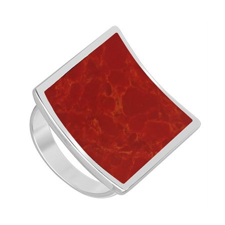 Gem Avenue 925 Sterling Silver Square Shape Red Coral Solitaire Ring ()