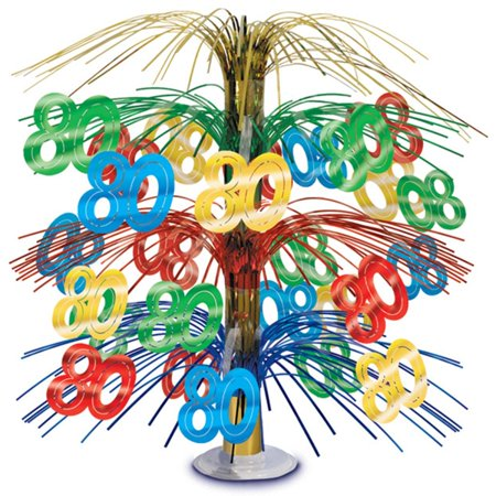 80th Birthday Party Foil Cascade Centerpiece](80th Birthday Centerpieces Decorations)