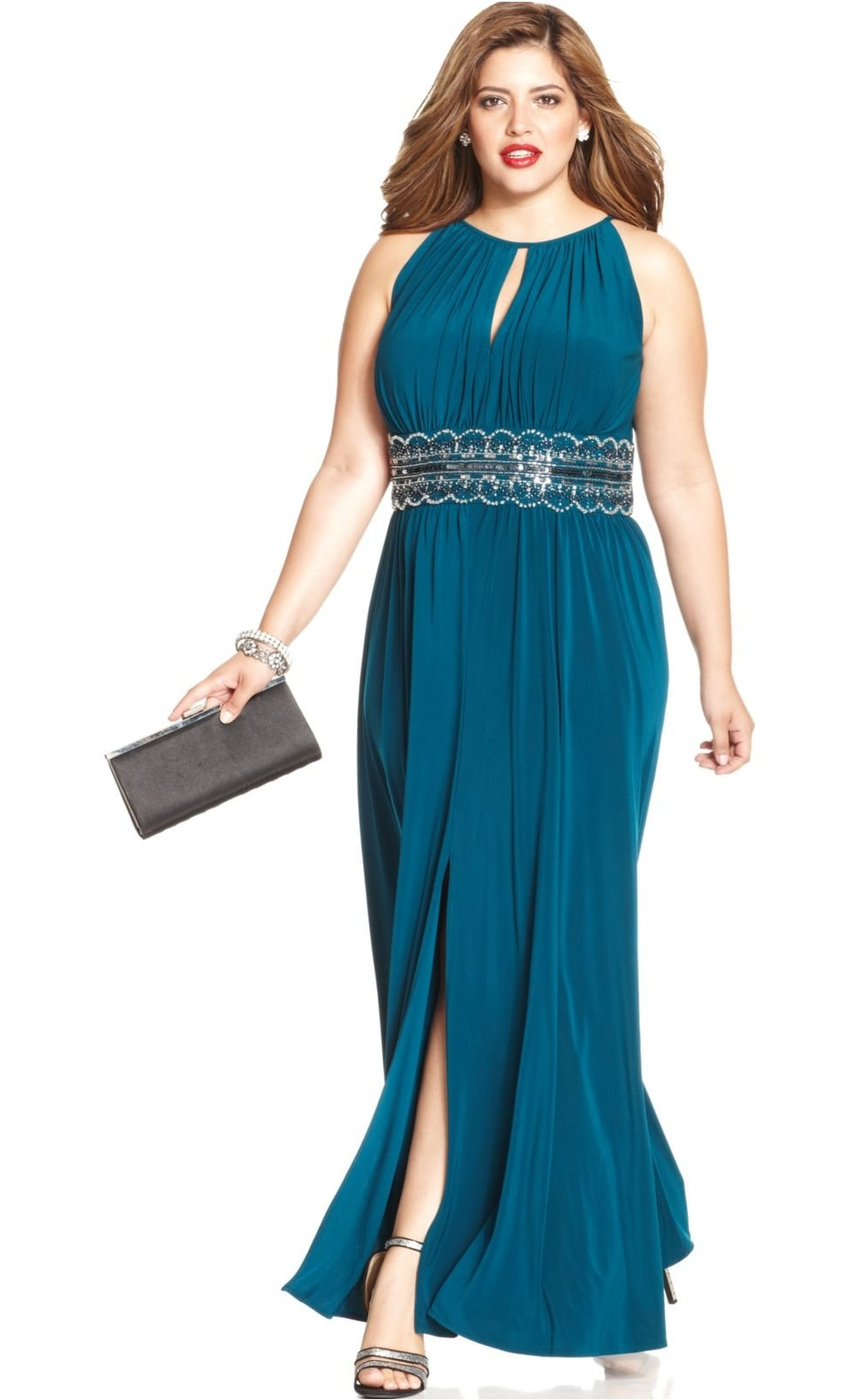 RM Richards Women\'s Plus Size Beaded Waist Halter Evening Gown