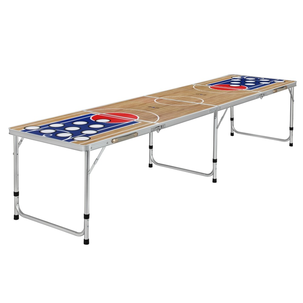 Zaap 8ft Tournament Size Folding Beer Pong Picnic Camping Table-Basketball Court by