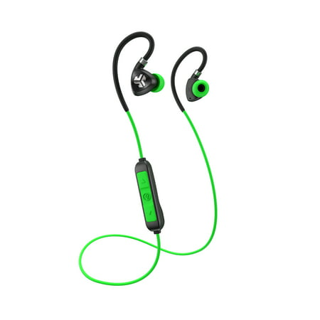 JLab Audio Fit 2.0 Bluetooth Wireless Sport Earbuds - Green / Black - Titanium 10mm Drivers 6 Hour Battery Life Bluetooth 4.1 IP55 Sweat Proof Rating Extra Gel Tips Flexible