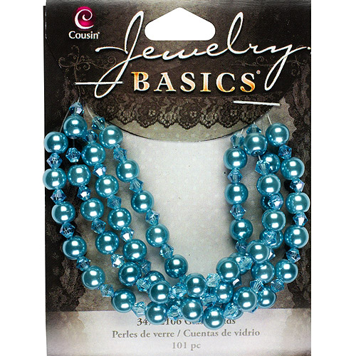 Jewelry Basics Pearl and Crystal Bead Mix, 4mm/5mm, 101pk, Teal Round