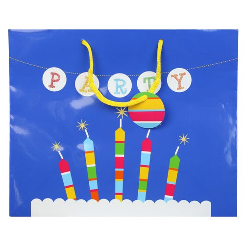 """Berwick Offray Large Vogue """"Party"""" Candles Birthday Gift Bag"""