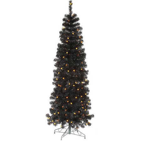 vickerman pre lit 75 black pencil pine artificial christmas tree led orange - Black Artificial Christmas Tree