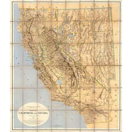 Map of California and Nevada 1874 Poster Print by California ... California Geological Survey Maps on