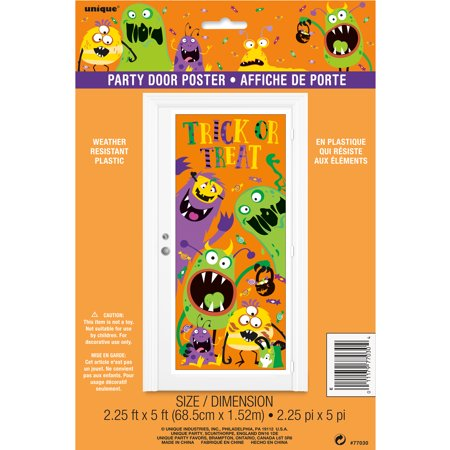 Plastic Silly Monsters Halloween Door Poster, 5 x 2.5 ft, - Halloween Decorating Ideas For Classroom Doors