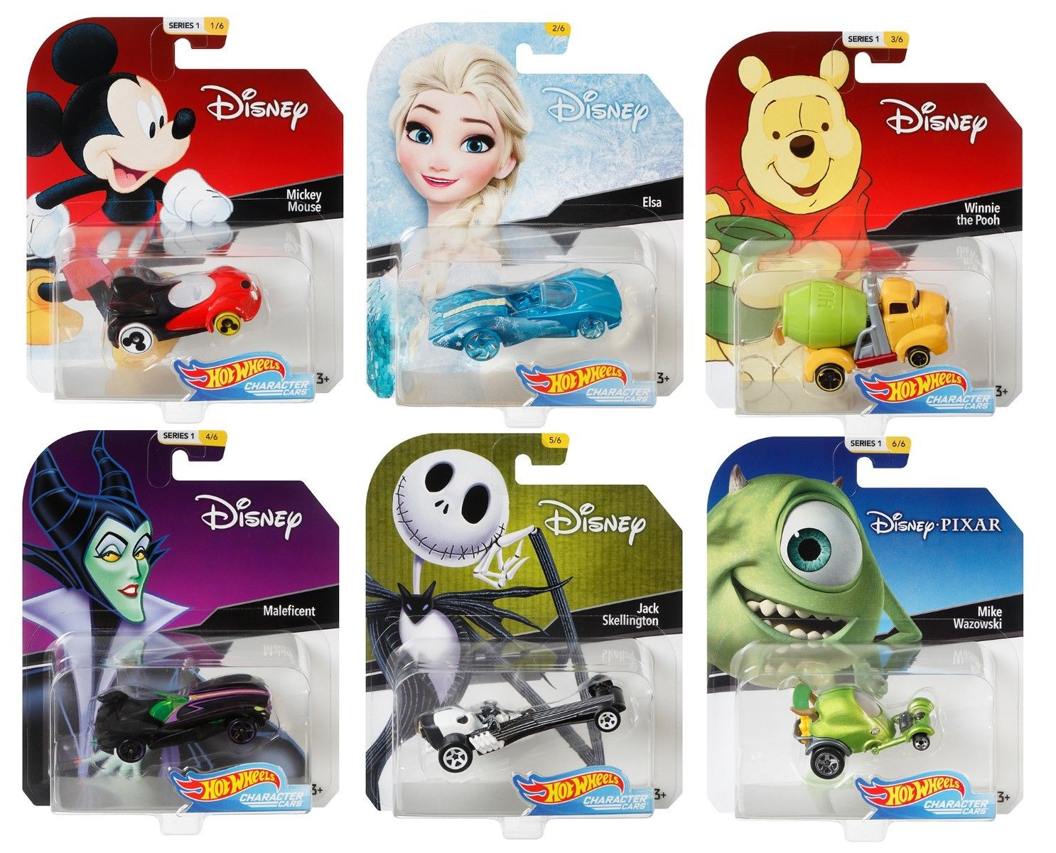 2018 Hot Wheels 1 64 Disney Character Cars Set of 6 Collectible Die Cast Toy Cars by