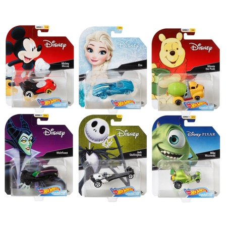 2018 Hot Wheels 1/64 Disney Character Cars Set of 6 Collectible Die Cast Toy Cars (Disney Halloween Town Cast)