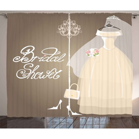 Bridal Shower Curtains 2 Panels Set Bride Party Wedding Dress Romantic Letterings Design Print Window Drapes For Living Room Bedroom 108W X 63L Inches
