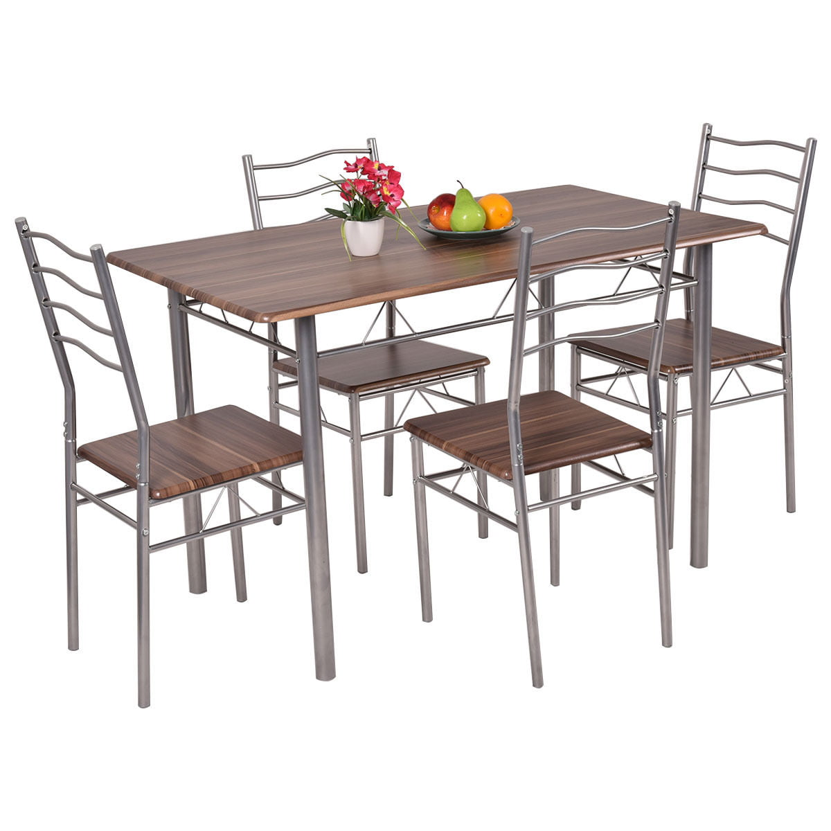 Modern Wood Kitchen Table costway 5 piece dining set wood metal table and 4 chairs kitchen