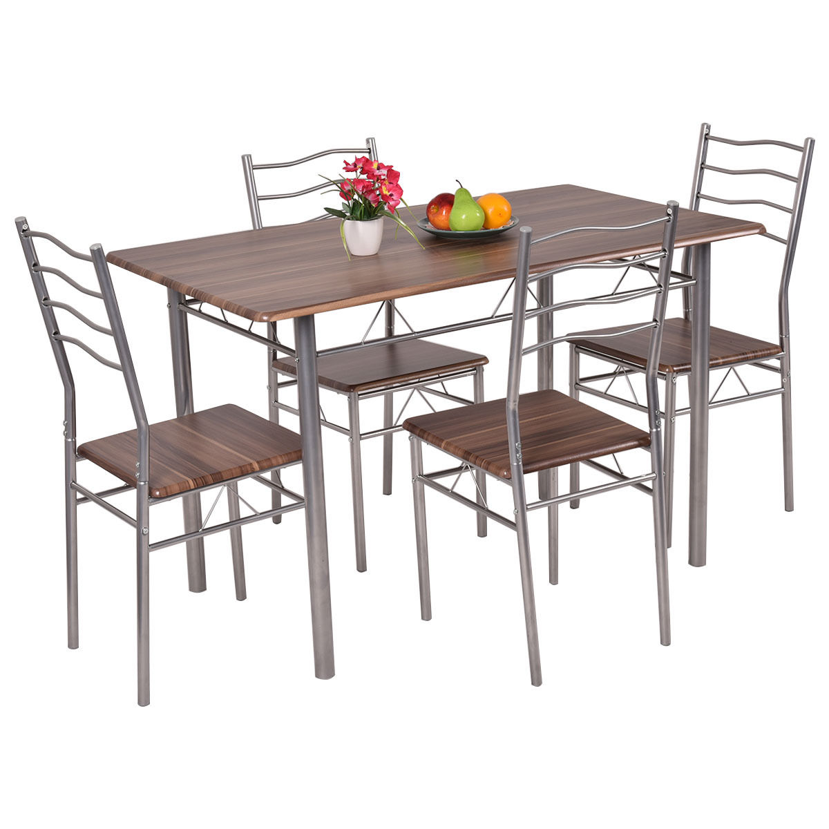 Mainstays 5 Piece Glass Top Metal Dining Set   Walmart com. Metal Dining Room Table Sets. Home Design Ideas