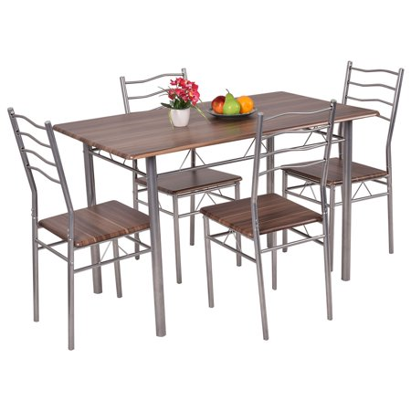 Costway Piece Dining Set Wood Metal Table And Chairs Kitchen