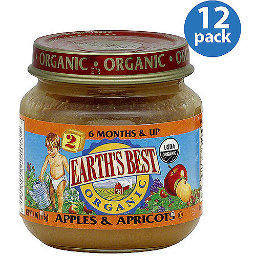 Earth's Best Stage 2 Apples & Apricots Baby Food, 4 oz (Pack of 12)