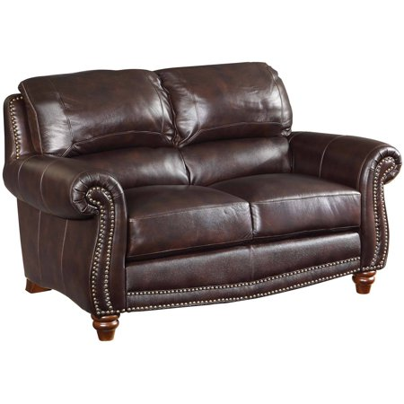 Coaster Lockhart Loveseat Burgundy Brown Leather