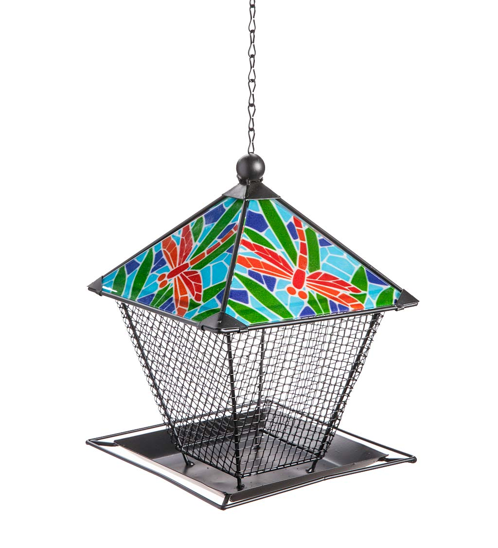 Metal and Ceramic Dragonfly Birdfeeder with Chain